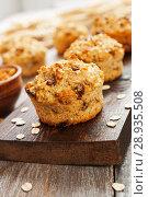 Купить «Diet oat muffins with raisins», фото № 28935508, снято 4 апреля 2018 г. (c) Надежда Мишкова / Фотобанк Лори