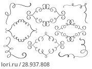 Купить «Set frame, corner hand drawn flourish Calligraphy elements. Vector illustration on a white background», иллюстрация № 28937808 (c) Happy Letters / Фотобанк Лори