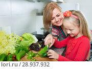 Купить «Young smiling woman and little happy girl cooking», фото № 28937932, снято 14 августа 2018 г. (c) Яков Филимонов / Фотобанк Лори