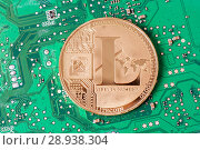 Купить «Golden litecoin on a computer motherboard. Cryptocurrency virtual», фото № 28938304, снято 13 августа 2018 г. (c) Алексей Букреев / Фотобанк Лори