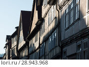 Hann. Muenden, Germany, half-timbered houses in the old town (2016 год). Редакционное фото, агентство Caro Photoagency / Фотобанк Лори