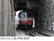 Купить «Zurich, Switzerland, railcar of the Swiss Federal Railways drives through a tunnel», фото № 28944684, снято 17 февраля 2012 г. (c) Caro Photoagency / Фотобанк Лори