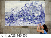 Купить «Porto, Portugal, mural with Infante D. Henrique in the conquest of Ceutas on tiles in the station Sao Bento in Porto», фото № 28946856, снято 2 августа 2016 г. (c) Caro Photoagency / Фотобанк Лори