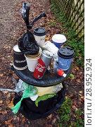 Купить «Berlin, Germany, overflowing dustbin in a green area», фото № 28952924, снято 5 ноября 2017 г. (c) Caro Photoagency / Фотобанк Лори