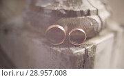 Купить «Gold Wedding Rings out of focus on vintage white wooden house macro closeup shoot diamon Jewellery», видеоролик № 28957008, снято 9 августа 2018 г. (c) Aleksejs Bergmanis / Фотобанк Лори