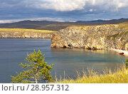 Купить «Lake Baikal. Olkhon Island. Red fishing boat on a sandy beach near the rocks of Cape Tashkay. Beautiful summer landscape», фото № 28957312, снято 7 августа 2018 г. (c) Виктория Катьянова / Фотобанк Лори