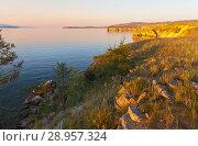 Купить «Baikal Lake. Strait of Maloe More in August. Olkhon Island at sunset. Beautiful summer landscape», фото № 28957324, снято 8 августа 2018 г. (c) Виктория Катьянова / Фотобанк Лори