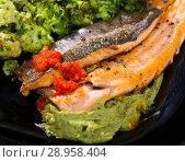 Купить «Exquisitely served fillet of trout», фото № 28958404, снято 16 августа 2018 г. (c) Яков Филимонов / Фотобанк Лори