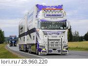 Купить «URJALA, FINLAND - AUGUST 9, 2018: Micke Malmbergs Akeri Ab Scania S730 freight truck from Sweden in convoy to Power Truck Show 2018, Finland. Credit: Taina Sohlman», фото № 28960220, снято 9 августа 2018 г. (c) age Fotostock / Фотобанк Лори