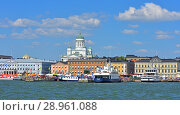 Купить «Kauppatori Market Square and port.  Cruise ships and ferries to Suomenlinna. Helsinki», фото № 28961088, снято 19 июля 2018 г. (c) Валерия Попова / Фотобанк Лори