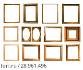 Купить «beautiful rectangular frame for a mirror on isolated background», фото № 28961496, снято 16 августа 2018 г. (c) Татьяна Яцевич / Фотобанк Лори