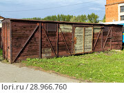 Купить «Old wooden freight railroad car», фото № 28966760, снято 17 августа 2013 г. (c) Евгений Ткачёв / Фотобанк Лори