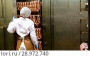 Купить «Female worker controlling hot processing of sausages in industrial smoking furnace at meat factory», видеоролик № 28972740, снято 27 июня 2018 г. (c) Яков Филимонов / Фотобанк Лори
