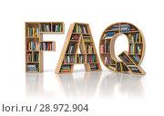Купить «FAQ Frequently asked questions concept. Bookshelf with book in form of letters FAQ isolated on white.», фото № 28972904, снято 25 июня 2019 г. (c) Maksym Yemelyanov / Фотобанк Лори