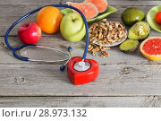 Купить «Healthy food for the heart», фото № 28973132, снято 23 марта 2017 г. (c) Майя Крученкова / Фотобанк Лори