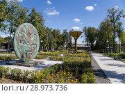 Купить «On the territory of Moscow Luzhniki Olympic Complex -- Stadium for the 2018 FIFA World Cup in Russia», фото № 28973736, снято 10 августа 2018 г. (c) Владимир Журавлев / Фотобанк Лори