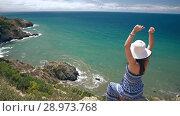 Купить «Woman enjoying her vacation», видеоролик № 28973768, снято 10 августа 2018 г. (c) Илья Шаматура / Фотобанк Лори