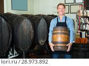 Купить «happy man working in winery and holding wine wood in cellar», фото № 28973892, снято 20 октября 2018 г. (c) Яков Филимонов / Фотобанк Лори