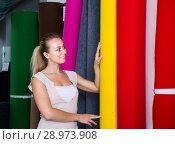 Купить «woman choosing carpet in housewares hypermarket», фото № 28973908, снято 27 мая 2019 г. (c) Яков Филимонов / Фотобанк Лори