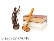Купить «Gavel, the statue of justice and books on white background», фото № 28974416, снято 13 октября 2013 г. (c) Ласточкин Евгений / Фотобанк Лори