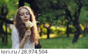 Купить «Girl Blow on a Dandelion», видеоролик № 28974504, снято 15 июня 2018 г. (c) Илья Шаматура / Фотобанк Лори
