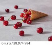 Купить «Red ripe cherries in a waffle cone on a gray marble table.», фото № 28974984, снято 30 мая 2018 г. (c) Ярослав Данильченко / Фотобанк Лори