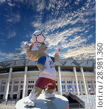 Купить «Official mascot of the 2018 FIFA World Cup in Russia-- wolf Zabivaka and Luzhniki Olympic Complex -- Stadium for the 2018 FIFA World Cup. Moscow», фото № 28981360, снято 10 августа 2018 г. (c) Владимир Журавлев / Фотобанк Лори