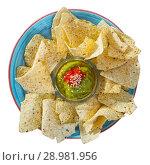Купить «Nachos chips with guacamole», фото № 28981956, снято 21 ноября 2018 г. (c) Яков Филимонов / Фотобанк Лори