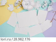 Купить «White sheets of paper with pumpkin, berries and leaves. White frame mockup on a multicolor pastel autumn background. Greeting card for Thanksgiving Day in rustic style with space for your text. Flat lay. Top view», фото № 28982176, снято 20 августа 2018 г. (c) Happy Letters / Фотобанк Лори