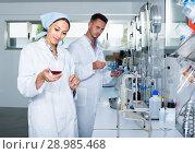 Купить «experts making tests in winery laboratory», фото № 28985468, снято 12 декабря 2019 г. (c) Яков Филимонов / Фотобанк Лори