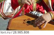 Купить «Gusli folk musical Russian instrument in men's hands close-up», видеоролик № 28985808, снято 23 августа 2018 г. (c) Алексей Кузнецов / Фотобанк Лори