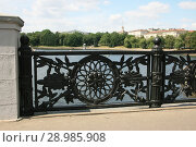 Купить «Кованная узорчатая металлическая чугунная ограда моста», фото № 28985908, снято 3 июня 2018 г. (c) Марина Шатерова / Фотобанк Лори