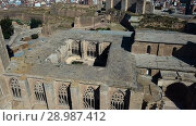 Купить «Panoramic view from drone of Catalan city of Lleida with medieval Cathedral of St. Mary of La Seu Vella», видеоролик № 28987412, снято 25 июля 2018 г. (c) Яков Филимонов / Фотобанк Лори