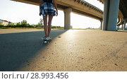 Купить «Young slender girl riding a skateboard under the bridge and falls», видеоролик № 28993456, снято 18 марта 2019 г. (c) Константин Шишкин / Фотобанк Лори