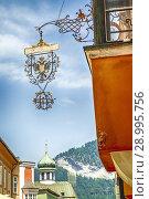 Купить «The overhead signage outside the Brauhaus cafe on Bienerstrasse in Rattenburg, Austria.», фото № 28995756, снято 15 декабря 2018 г. (c) age Fotostock / Фотобанк Лори