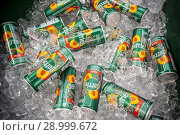 Купить «Cans of Perrier juice flavored carbonated water, seen at a street fair in New York on Saturday, June 2, 2018. The new product from Nestlé Waters, Perrier...», фото № 28999672, снято 2 июня 2018 г. (c) age Fotostock / Фотобанк Лори
