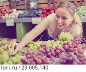 Купить «Woman customer buying sweet ripe grapes on marketplace», фото № 29005140, снято 18 октября 2018 г. (c) Яков Филимонов / Фотобанк Лори