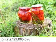 Консервированные помидоры. Стоковое фото, фотограф Марина Володько / Фотобанк Лори