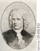 Купить «Johann Sebastian Bach, 1685-1750. Composer and musician of the Baroque period. Illustration by Gordon Ross, American artist and illustrator (1873-1946), from Living Biographies of Great Composers.», фото № 29008832, снято 22 октября 2019 г. (c) age Fotostock / Фотобанк Лори