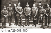 Купить «The defendants in the Munich Putsch trial aka Beer Hall Putsch of 1924, a failed coup attempt by the Nazi Party led by Adolf Hitler to seize power in Munich...», фото № 29008980, снято 28 января 2020 г. (c) age Fotostock / Фотобанк Лори