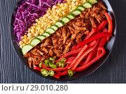 Купить «pulled pork rancho salad on a plate», фото № 29010280, снято 7 августа 2018 г. (c) Oksana Zh / Фотобанк Лори