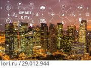Купить «Concept of smart city and internet of things», фото № 29012944, снято 21 сентября 2018 г. (c) Elnur / Фотобанк Лори