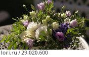 Купить «Beautiful Bouquet Of White And Purple Flowers», видеоролик № 29020600, снято 31 июля 2018 г. (c) Pavel Biryukov / Фотобанк Лори