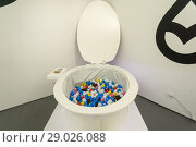 Купить «The toilet ball pit at the luxury bathroom brands Tushy and Poo-Pourri 'poop-up' on the Bowery in New York on Wednesday, May 30, 2018. Tushy is selling...», фото № 29026088, снято 30 мая 2018 г. (c) age Fotostock / Фотобанк Лори