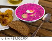Купить «Image of belarusian cold borscht on the table», фото № 29036004, снято 26 июня 2018 г. (c) Яков Филимонов / Фотобанк Лори