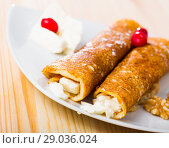 Купить «Pancakes with filling from brynza and walnuts, bulgarian dish palachinki», фото № 29036024, снято 20 ноября 2018 г. (c) Яков Филимонов / Фотобанк Лори