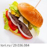 Купить «Tasty double-decker grilled burger with beef, tomato, cheese», фото № 29036084, снято 19 марта 2019 г. (c) Яков Филимонов / Фотобанк Лори