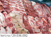Купить «Fresh raw meat on display», фото № 29036092, снято 20 апреля 2018 г. (c) Яков Филимонов / Фотобанк Лори