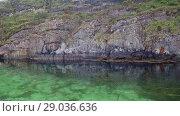 Купить «Norwegian fjord in sunny day, Averoy, Norway», видеоролик № 29036636, снято 1 сентября 2018 г. (c) Некрасов Андрей / Фотобанк Лори
