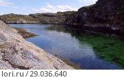Купить «Norwegian fjord in sunny day, Averoy, Norway», видеоролик № 29036640, снято 1 сентября 2018 г. (c) Некрасов Андрей / Фотобанк Лори